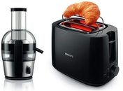 Philips Viva Collection 2-Litre Juicer (Black/Silver) with Daily HD2583/90 600-Watt 2 in 1 Toaster and Grill (Black) Combo