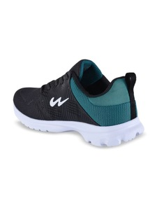 Campus Men Charcoal Black And Turquoise Blue Robin Mesh Running Shoes
