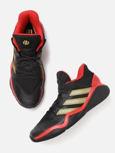 ADIDAS Unisex Black & Gold-Toned Harden Stepback Striped Mid-Top Basketball Shoes
