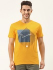 United Colors of Benetton Men Yellow Printed Pure Cotton Round Neck T-shirt