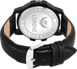 Lorenz Analogue Black Dial Leather Strap Day and Date Watch for Men